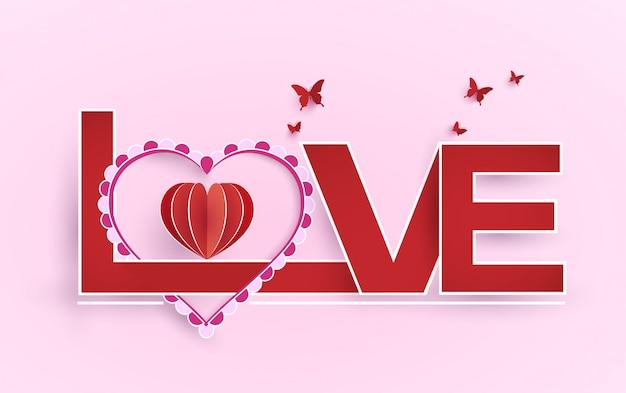 Mots d'amour et de décoration pour la saint valentin. conception d'art de papier