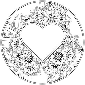 Mots d'amour avec des fleurs de mehndi pour l'ornement de griffonnage de page de livre de coloriage en noir et blanc