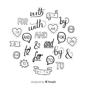 Mots clés de mariage dessinés à la main