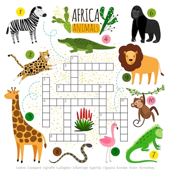 Mots croisés animaux d'afrique.