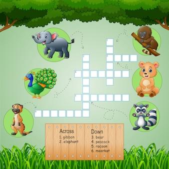 Mots croisés animaux pour jeux d'enfants