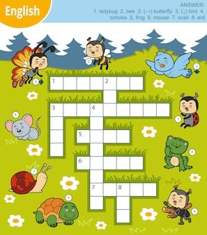 Mots croisés colorés de vecteur en anglais, jeu éducatif pour les enfants sur les animaux