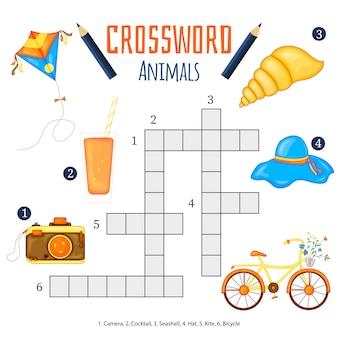 Mots croisés de couleur, jeu éducatif pour les enfants sur les animaux