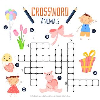 Mots croisés en couleur, jeu d'éducation pour les enfants sur les animaux