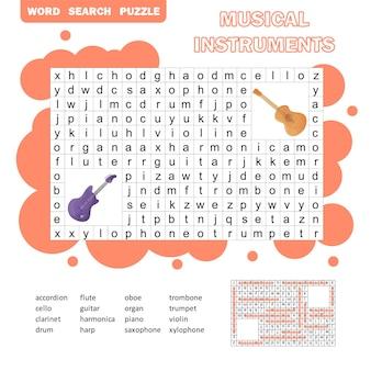 Mots croisés de couleur - jeu de mots de recherche, jeu d'éducation pour les enfants sur les instruments de musique