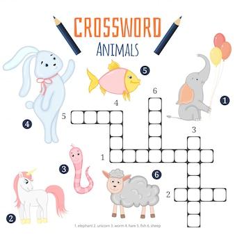 Mots croisés de couleur de vecteur, jeu d'éducation pour les enfants sur les animaux
