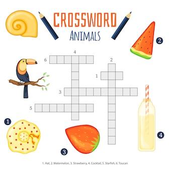 Mots croisés de couleur vectorielle, jeu éducatif pour les enfants sur les animaux.