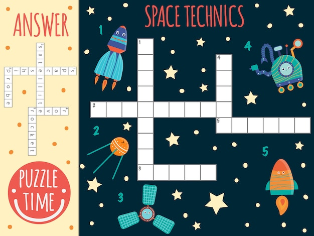 Mots croisés de l'espace. quiz lumineux et coloré pour les enfants. activité de puzzle avec les techniques spatiales, satellite, vaisseau spatial, sonde, rover, fusée