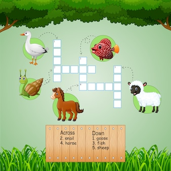 Mots croisés: ferme des animaux pour jeux d'enfants