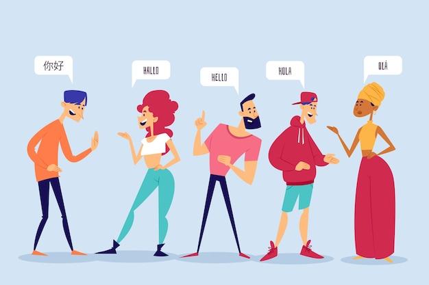 Mots dans d'autres langues compris par différentes personnes