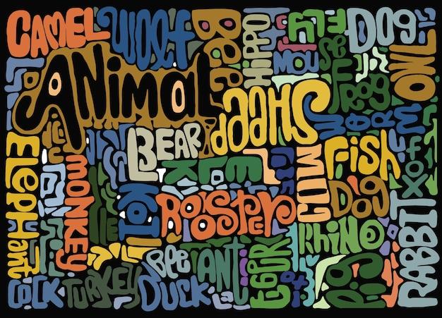 Mots dessinés à la main des animaux