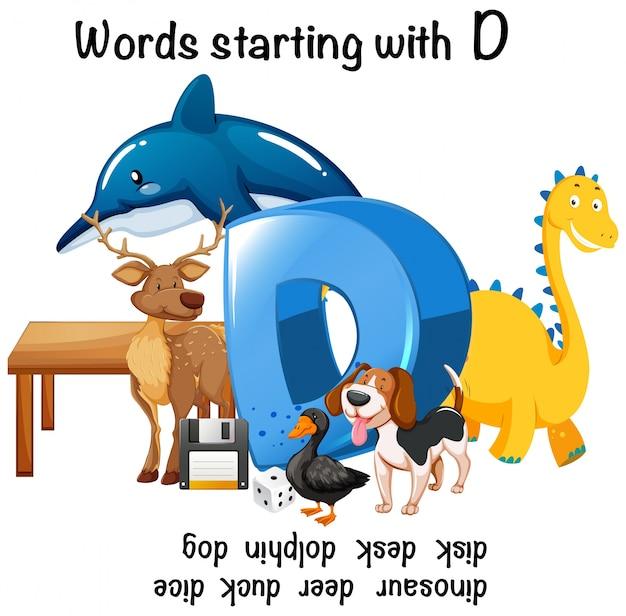 Mots différents commençant par d