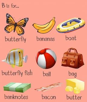Des mots différents pour l'alphabet b