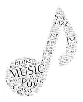Mots nuage de forme de note de musique.