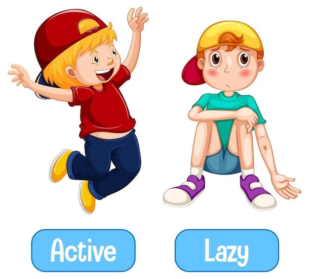 Mots opposés avec actif et paresseux
