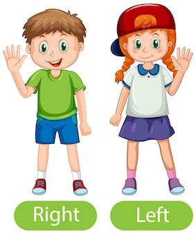 Mots opposés avec droite et gauche