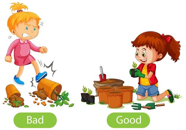 Mots opposés avec mauvais et bon