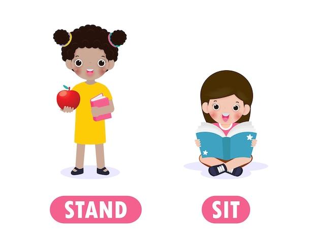 Mots opposés pour les enfants avec des personnages de dessins animés