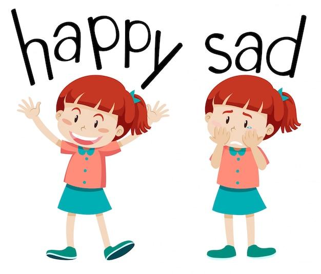 Des mots opposés pour heureux et triste