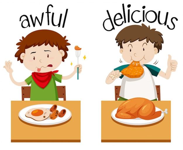 Mots opposés pour horrible et délicieux