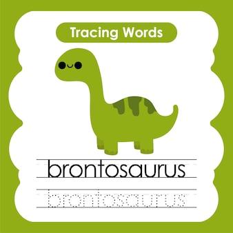 Mots de pratique d'écriture alphabet de dinosaure traçant b brontosaure