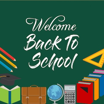 Mots de titre de retour à l'école avec des éléments scolaires réalistes avec des icônes colorées dans une illustration vectorielle d'arrière-plan vert