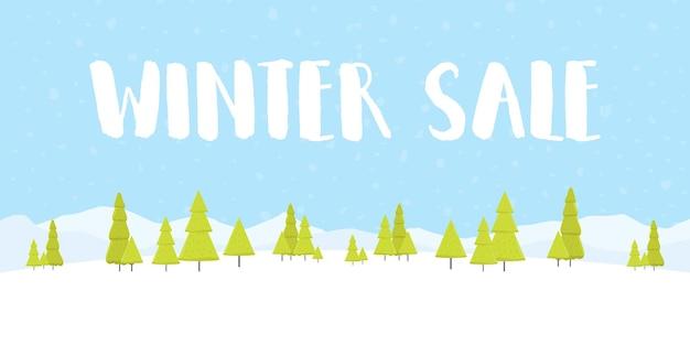 Mots de vente d'hiver sur le beau fond de paysage de vacances d'hiver plat de noël avec des arbres, des flocons de neige, des chutes de neige. illustration vectorielle