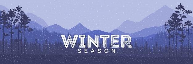 Mots de vente d'hiver sur le magnifique paysage de vacances d'hiver plat de chrismas