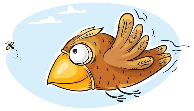 Mouche capture d'oiseau
