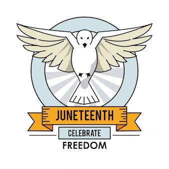 La mouche de colombe de juneteenth day célèbre l'étiquette de liberté