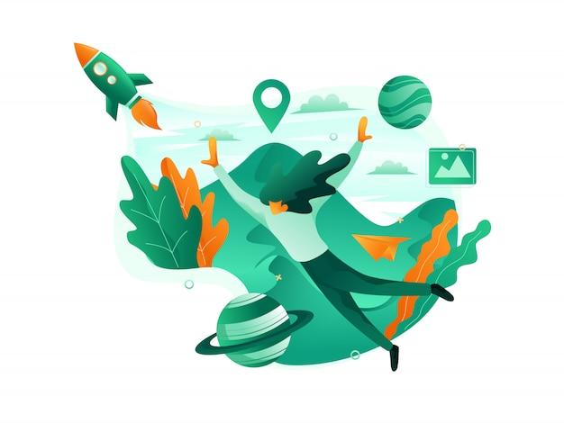 Mouche touristique plate avec des fusées et la montagne à côté