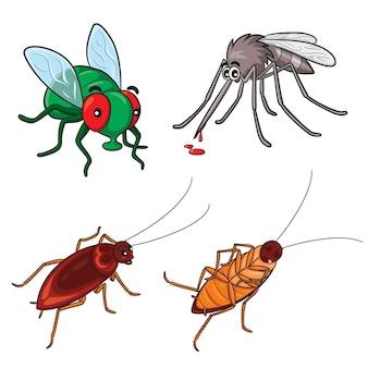 Mouches et cafards de moustiques de dessin animé mignon