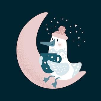Mouette buvant du café sur la lune