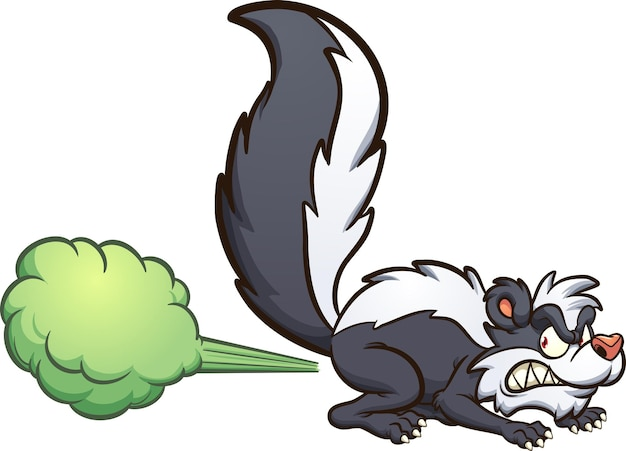 Mouffette de dessin animé en colère pulvérisant des fumées toxiques