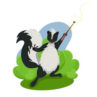 Mouffette drôle mignonne tenant un personnage de vecteur d'animaux sauvages de baguette magique dans le style de dessin animé
