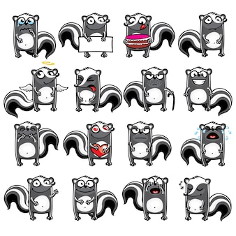 Les mouffettes smiley regroupées individuellement pour faciliter le copier-coller.