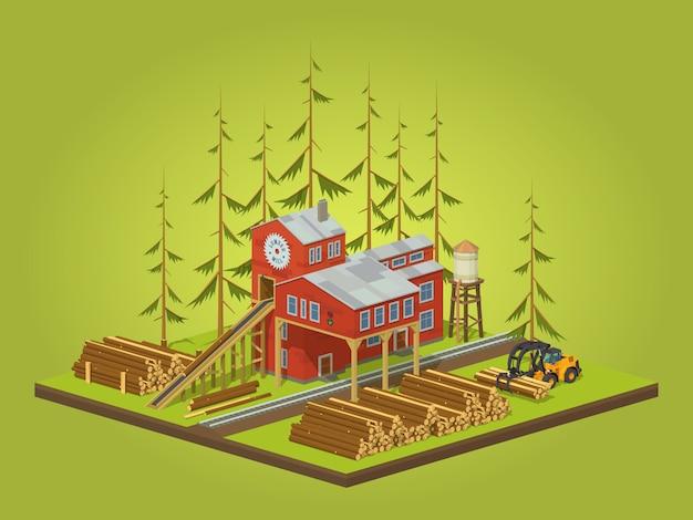 Moulin à bois isométrique 3d lowpoly