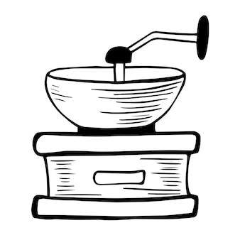 Moulin à café d'époque. moulin à café manuel à la main doodle art. café. moulin à café manuel.