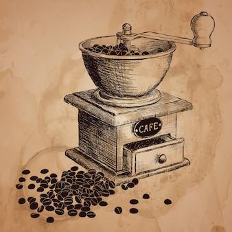 Moulin à café. illustration dessinée à la main.