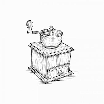 Moulin à café vintage dessinée à la main
