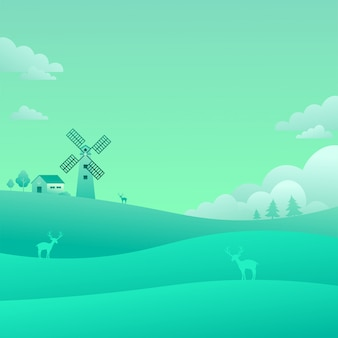 Moulin à vent champs verts paysage paysage nature fond plat style vector illustration
