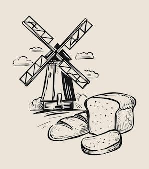Moulin à vent et croquis de pain. dessiné à la main.