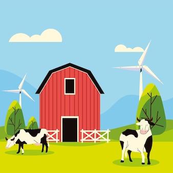 Moulin à vent de ferme et vaches