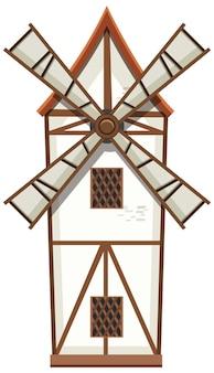 Moulin à vent isolé sur fond blanc