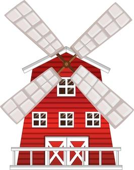 Moulin à vent peint en rouge
