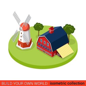 Moulin à vent plat isométrique côté campagne battage bloc de construction de ferme concept infographique stockage d'entrepôt de grange de campagne construisez votre propre collection mondiale d'infographie