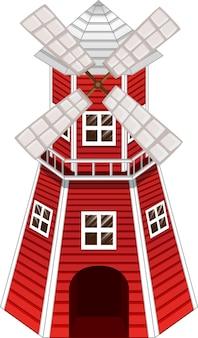 Moulin à vent rouge sur fond blanc