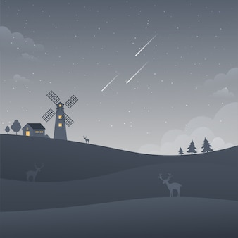 Moulin à vent sombre nuit ciel paysage paysage étoiles filantes nature fond
