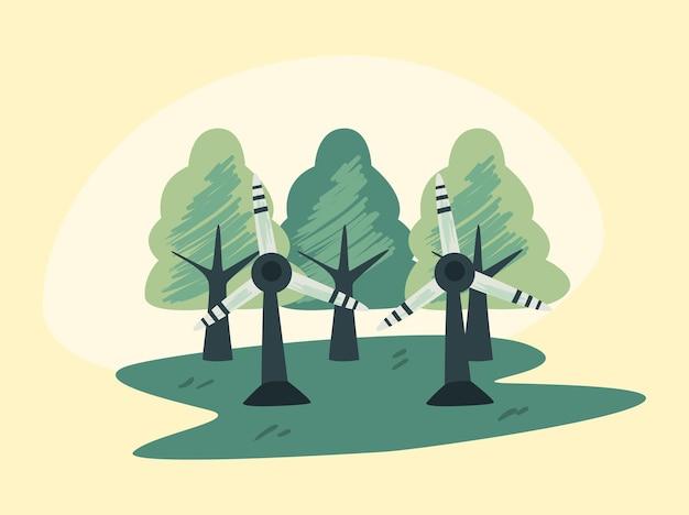 Moulins à vent et arbres sur fond jaune