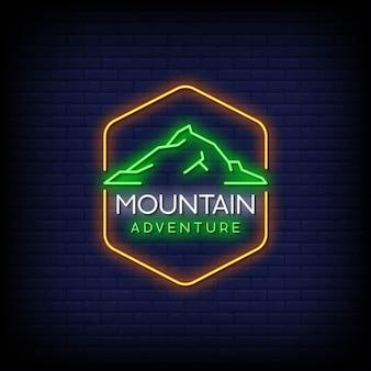 Mountain adventure logo néon signes style texte